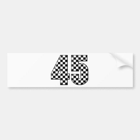45 checkered number bumper sticker