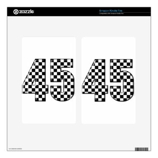 45 checkered number decal for kindle fire