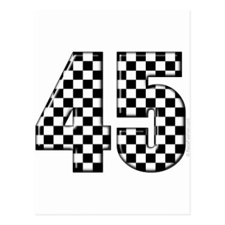 45 checkered number postcard