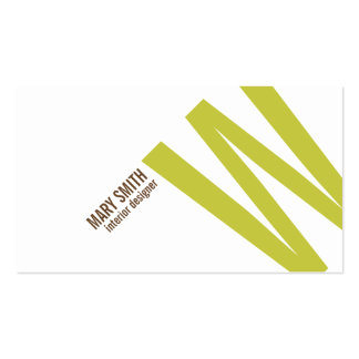 45 degree Typographic Monogram Card (Lime) Double-Sided Standard Business Cards (Pack Of 100)