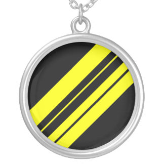 45 Degree Yellow Minimalist art Silver Plated Necklace