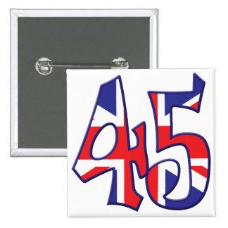 45 edad Reino Unido Pin Cuadrado