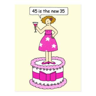 45 es el nuevo humor del cumpleaños de 35 edades tarjetas postales