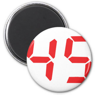 45 fourty-five red alarm clock digital number 2 inch round magnet