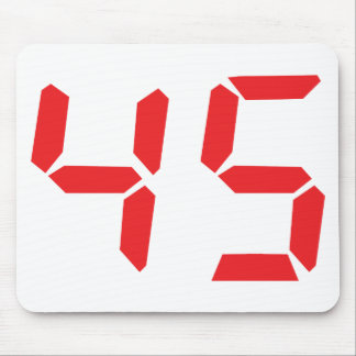 45 fourty-five red alarm clock digital number mouse pad