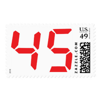 45 fourty-five red alarm clock digital number postage