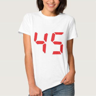 45 fourty-five red alarm clock digital number t shirt