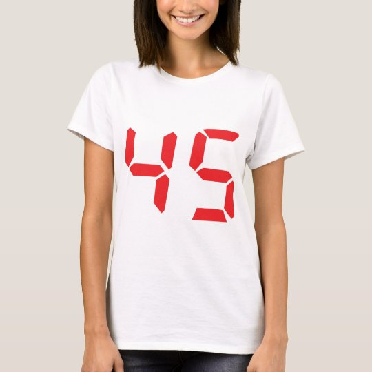 45 fourty-five red alarm clock digital number T-Shirt