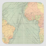 45 líneas de comunicación, Océano Atlántico Calcomanías Cuadradas Personalizadas