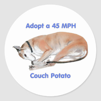 45 mph Couch Potato Classic Round Sticker