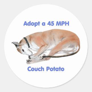45 mph Couch Potato Classic Round Sticker