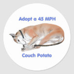 45 mph Couch Potato Round Sticker