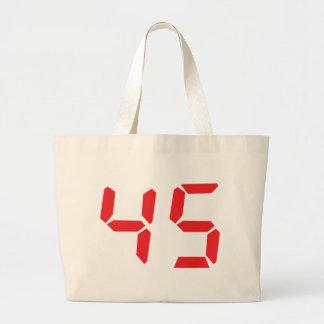 45 número digital del despertador de cuarenta y ci bolsa lienzo