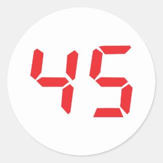 45 número digital del despertador de cuarenta y pegatina redonda