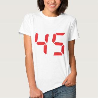 45 número digital del despertador de cuarenta y remera