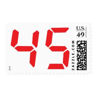 45 número digital del despertador de cuarenta y franqueo