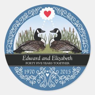 45.o aniversario de boda personalizado, gansos pegatina redonda