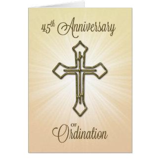 45.o Aniversario de la ordenación, cruz del oro Tarjeta De Felicitación