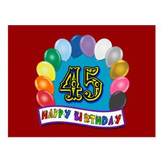 45.o arco feliz del globo del cumpleaños postales