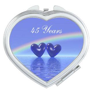 45.o Corazones del zafiro del aniversario Espejos De Maquillaje