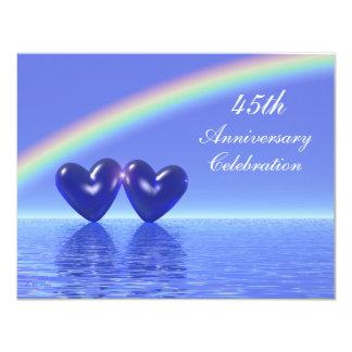 """45.o Corazones del zafiro del aniversario Invitación 4.25"""" X 5.5"""""""