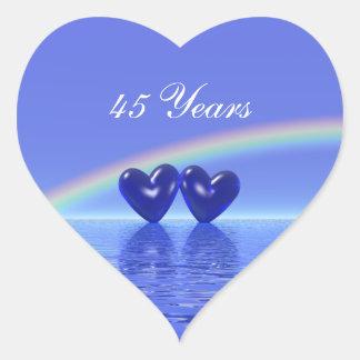 45.o Corazones del zafiro del aniversario Pegatina En Forma De Corazón
