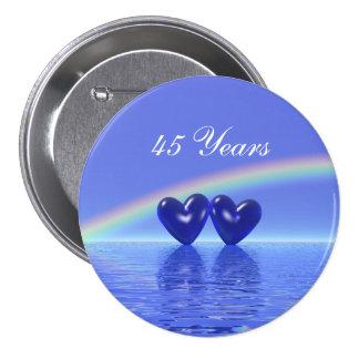 45.o Corazones del zafiro del aniversario Pin Redondo 7 Cm