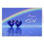 45.o Corazones del zafiro del aniversario Felicitaciones