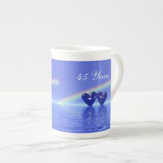 45.o Corazones del zafiro del aniversario Taza De Porcelana