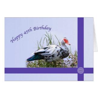 45.o Cumpleaños con el pato de Muscovy Tarjeta De Felicitación
