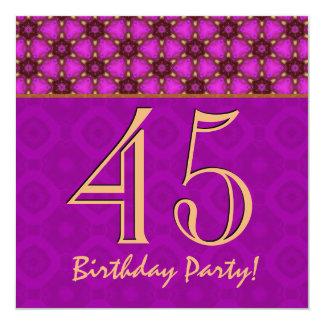 """45.o Cumpleaños o cualquier fucsia y oro V11 del Invitación 5.25"""" X 5.25"""""""