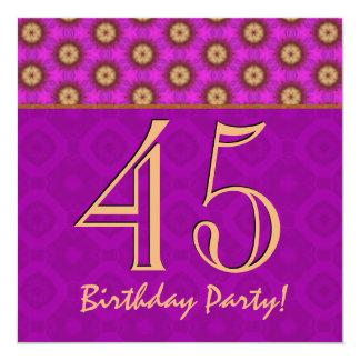 """45.o Cumpleaños o cualquier fucsia y oro V13 del Invitación 5.25"""" X 5.25"""""""