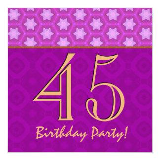 """45.o Cumpleaños o cualquier fucsia y oro V14 del Invitación 5.25"""" X 5.25"""""""