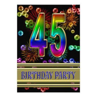 45 o Invitación de la fiesta de cumpleaños con las