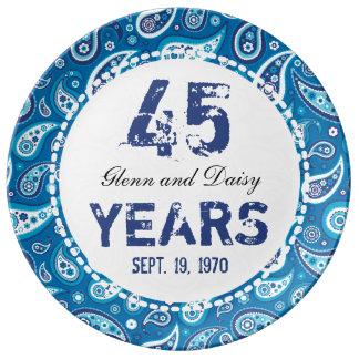 45.o Modelo de Paisley del aniversario de boda del Platos De Cerámica