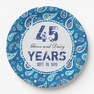 45.o Modelo de Paisley del aniversario de boda del Plato De Papel De 9 Pulgadas