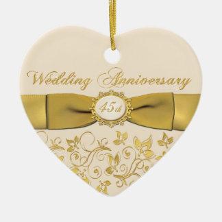 45.o Ornamento del navidad del aniversario de boda Adorno De Cerámica En Forma De Corazón