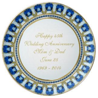 45.o Placa de la porcelana del aniversario de boda Plato De Cerámica