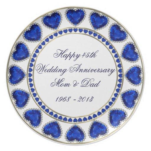 45.o Placa del aniversario de boda Plato De Comida