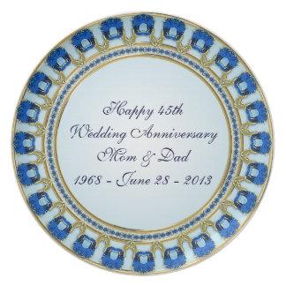 45.o Placa del aniversario de boda Plato Para Fiesta