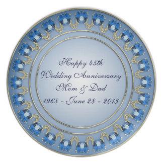 45.o Placa del aniversario de boda Platos Para Fiestas