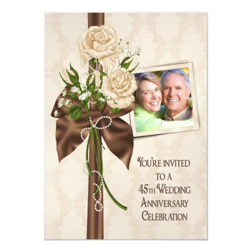 45.o Rosas del aniversario de boda Invitaciones Personalizada