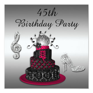 """45.o Talones de la torta y de la chispa de la diva Invitación 5.25"""" X 5.25"""""""