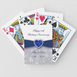 45.os naipes del aniversario de boda del damasco cartas de juego