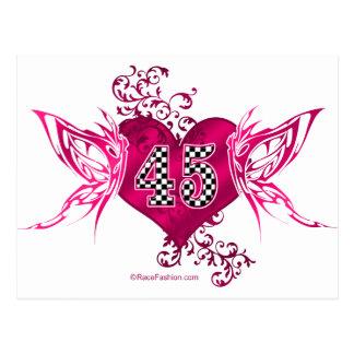 45 racing number butterflies postcard