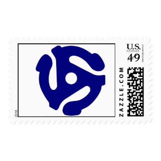 45 Rpm Adapter Postage Stamp Blue
