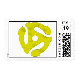45 Rpm Adapter Postage Stamp Yellow