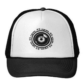 45 RPM. Vinyl Record Black and White Trucker Hat