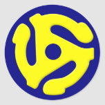 45 RPM Yellow Classic Round Sticker