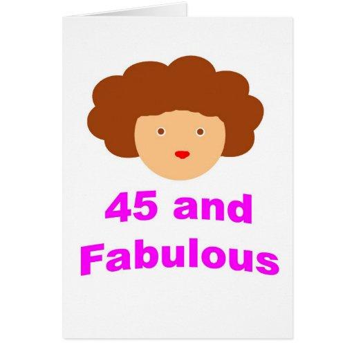 45 y fabuloso tarjeta de felicitación
